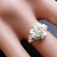 Ring--925 Sterling Silver dainty rose rate ring,adjustable handmade rose ring