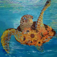 Sea turtle painting with Sunflowers Original Painting Fantasy Turtle Painting Acrylic on Canvas 18x24 Free Shipping Wall Art