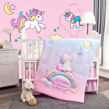 La Premura Unicorn Baby Nursery Crib Bedding Set for Girls – Baby Unicorn & Rainbows 3 Piece Standard Size Crib Bedding Sets in Pink, Yellow & Green Standard Crib