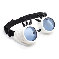 White Spiked Goggles | Cyber Rave Burner Goggles from RaveReady
