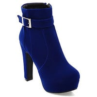 Blue High Heel Boots With Suede and Buckle Design