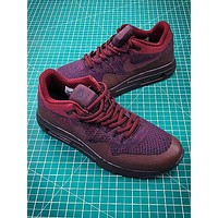 Nike Air Max 1 Ultra Flyknit Og Wine Red Sport Running Shoes