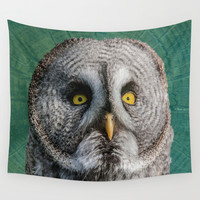 GREY OWL Wall Tapestry by Catspaws