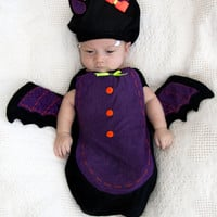 Baby Costume Cute BAT Costume Halloween Newborn Costume Hat and baby swaddle-Baby girl Newborn to 3 month old