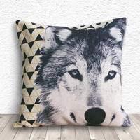 Pillow Cover, Pillow Case, Cushion Cover, Wolf Pillow Cover 18x18 - Wolf Geometric - 157