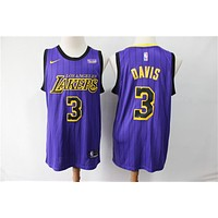 2019-2020 L.A. Lakers 3 Anthony Davis Purple City Edition Basketball Jersey