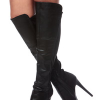 Black Faux Leather Two Toned Knee High Platform Boots