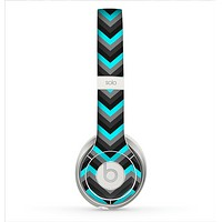 The Turquoise-Black-Gray Chevron Pattern Skin for the Beats by Dre Solo 2 Headphones