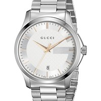 Gucci G-Timeless Stainless Steel Men's Watch with Triple-Link Bracelet(Model:YA126442)
