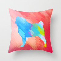 Pug Throw Pillow by Deniz Erçelebi