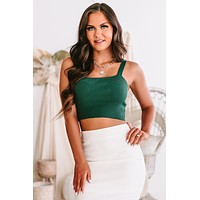 Sweet Messages Cropped Sweater Knit Tank (Teal)
