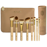 8 Pcs Khaki zoeva golden pipe bamboo makeup brush kit with holder and natural Soft bristles