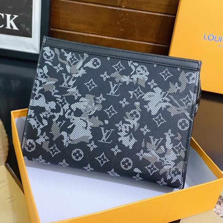 Image of LV Louis Vuitton Vintage Printed Letters Cosmetic Bag Clutch Briefcase
