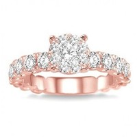 1ct tw Diamond Thousand Points of Light Engagement Ring in 14K Rose Gold - Diamond Rings - Jewelry & Gifts
