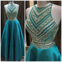 Shinning Beaded Turquoise Teal Blue Prom Dresses Satin Girls Long Two Piece Prom Dress A Line Party Gowns Luxury Prom Gowns NP01