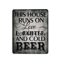 "This house runs on love... and beer- Custom 9"" x 12"" Metal Sign, Kitchen decor, quote Sign, Sayings above family, this house, gift for mom"