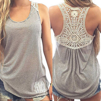 Women Summer Vest Top Sleeveless Casual Hollow Out Lace Tank Tops FREE SHIPPING