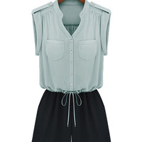 Low Waist Sleeveless Green Top and Black Shorts Romper