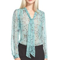 Women's Rebecca Taylor Floral Print Tie Neck Top,