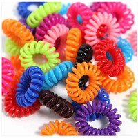 10PCS Hair Styling Tools Accessory Plastic Hairbands Head Colorful Rope Spiral Shape Hair Accessories Gum Hair Telephone Wire