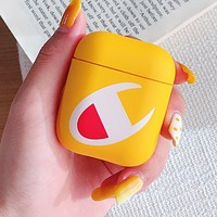 Champion Fashion Big Logo iPhone Airpods Headphone Case Wireless Bluetooth Headphone Protector Case(No Headphones) Yellow