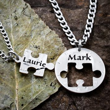 Puzzle Piece Couples Necklaces, Personalized Names, Hand Cut Coin