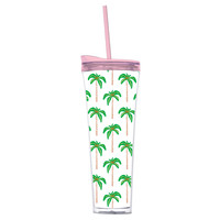 Palm Tree Tumbler With Straw