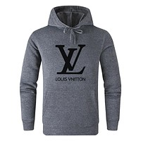 LV Louis Vuitton Autumn And Winter New Fashion Letter Print Women Men Leisure Hooded Long Sleeve Sweater Gray