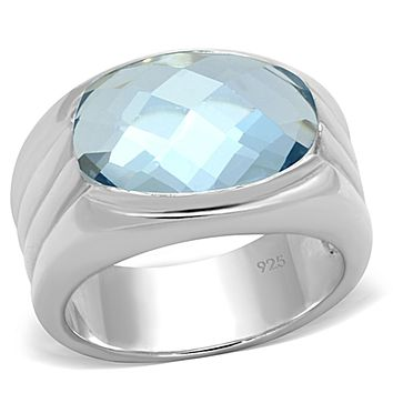 Silver Wedding Rings LOS735 Silver 925 Sterling Silver Ring with Synthetic