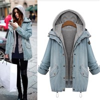 MUQGEW Hot Sale Winter Women Warm Collar Hooded Coat Jacket Denim Trench Parka Outwear winter coat women veste femme doudoune