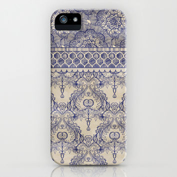 Vintage Wallpaper - hand drawn patterns in navy blue & cream iPhone & iPod Case by Micklyn