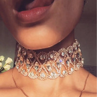 2016 High Quality Vintage Jewelry Hallow out Crystal Choker Necklace Statement Alloy Necklace Sexy Chocker Gift