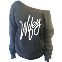 Wifey Off The Shoulder Slouchy Sweatshirt