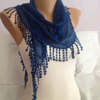 Cobalt Blue Scarf - Blue Lace Scarf - Wedding Scarf With Fringes - Blue Weddings
