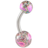 """14Gauge (1.6mm), 3/8"""" Inch (10mm) long - 316L Surgical Stainless Steel belly navel button ring bar with Hand Painted balls ABLH - Pierced Body Piercing Jewelry"""