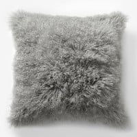 Mongolian Lamb Pillow Cover - Platinum (Square)
