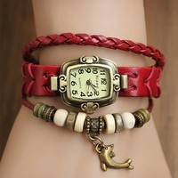 MagicPiece Handmade Vintage Style Leather Watch For Women Leather Belt Square Shape Watch with Dolphin Pendant and Wooden Beads in 5 Colors: Red