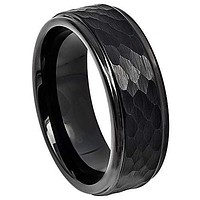 Black Engagement Rings Black Tungsten Carbide Hammered Step Ring