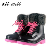 Warm Women Martin Rain Boots With Detachable Fur Furry Snow Boots 2016 Waterproof Winter Shoes Safe Flat Ankle Boots For Women