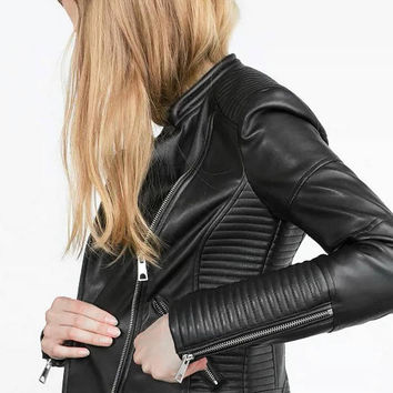 Black Leather Moto Jacket with Zipped Cuffs