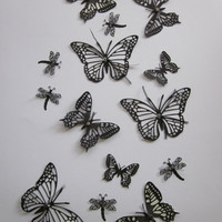 3D classy black and grey butterfly/dragonfly wall art set --- Perfect to give an elegant touch or awesome between some black/white pictures