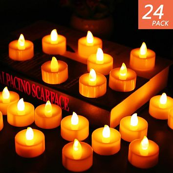 Flameless Candles, LED Tea Light Candles With Battery-Powered wedding Candles Decorations For Parties Events Tealight Candles (24 Pack) small