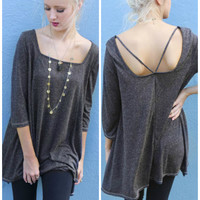 Back Track Charcoal Strappy Back TunicTop