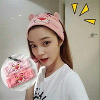 Korean cute cartoon Pink Panther embroidered headband wash makeup headband hair band hair hoop card