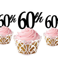 4 pcs a set 60th CupCake toppers, cake decor for 60th birthday, acrylic cupcake toppers party decor, cake topper supplies