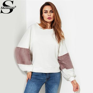 Sheinside Fuzzy Fabric Detail Exaggerate Sleeve Color Block Pullover Women Long Sleeve Top 2017 Casual Sweatshirt