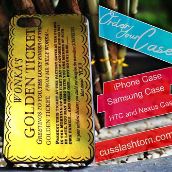 Exclusive Wonka's Golden Ticket iPhone for 4 5 5c 6 Plus Case, Samsung Galaxy for S3 S4 S5 Note 3 4 Case, iPod for 4 5 Case, HtC One M7 M8