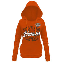 Cleveland Browns 5th and Ocean by New Era Women's Trick Play Pullover Hoodie – Orange