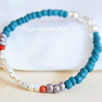 Silver Cube Bracelets Turquoise And Red Jewelry Boho Bracelet Turquoise Bracelet Silver Bracelet