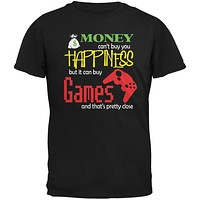 Money Happiness Video Games Funny Black Adult T-Shirt